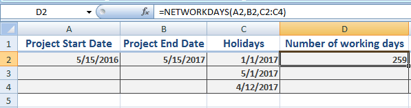 Excel NETWORKDAYS holidays