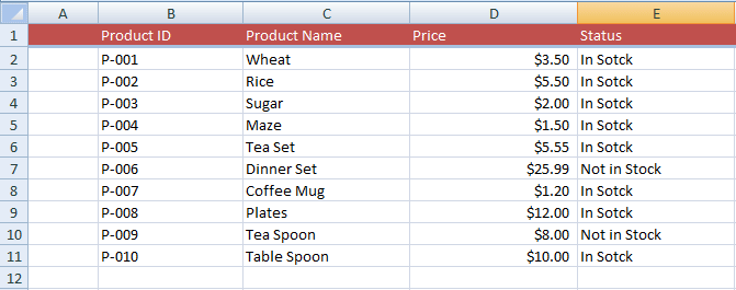 Excel VLOOKUP Table
