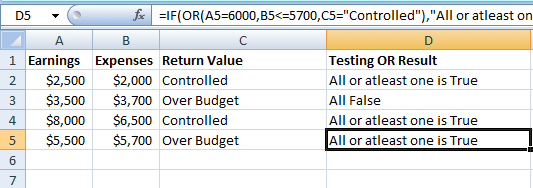 IF OR Excel Functions