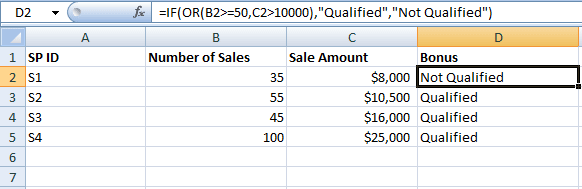 Excel OR IF