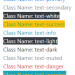 The Bootstrap color classes for different elements