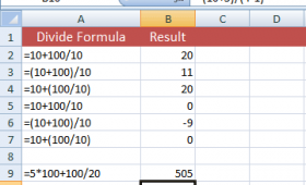 How to divide in Excel?