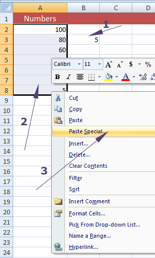 Excel division paste special