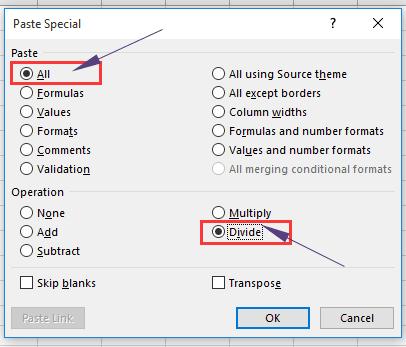 Excel division paste 2