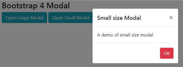 modal sizes