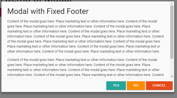 materialize modal fixed footer