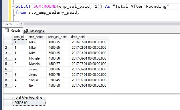 SQL ROUND SUM