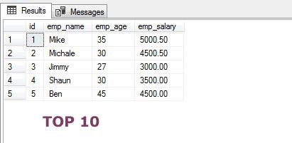 SQL TOP 10