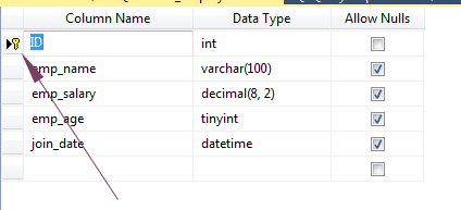 SQL CREATE primary key