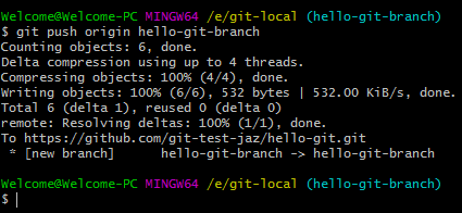 Git branch push remote