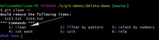 Git remove file interactive