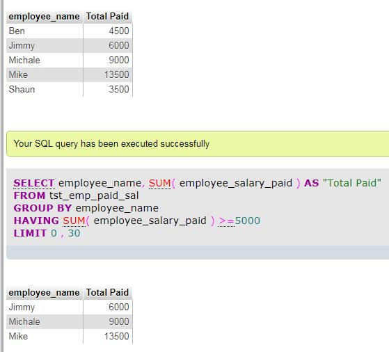MySQL GROUP BY HAVING