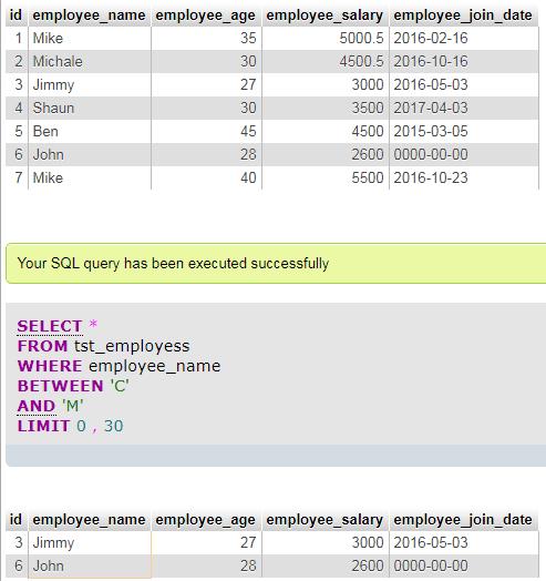 MySQL between text