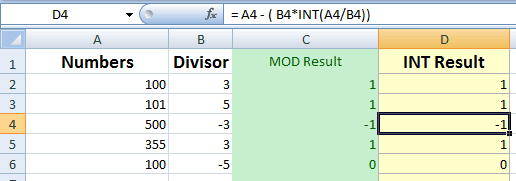 Excel MOD INT