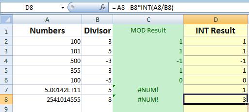 Excel MOD INT error