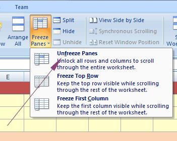 Excel unfreeze top row
