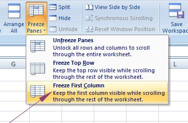 Excel freeze column