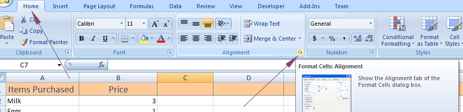 Excel align group