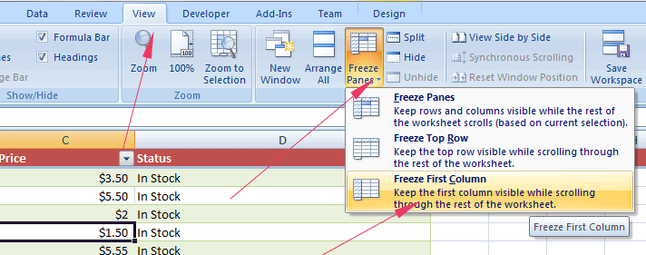 Excel freeze column