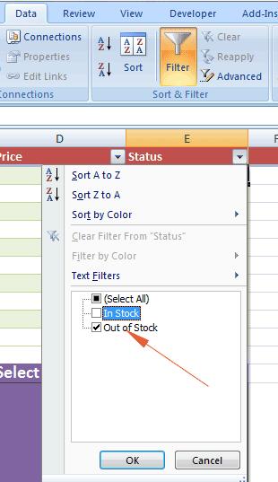 Excel filter dropdown