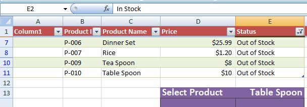Excel filtered data