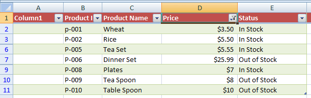 Excel filtered Numbers data