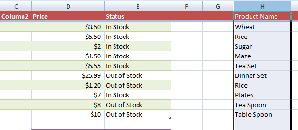 Excel column moved