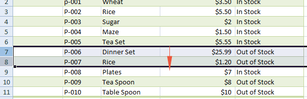 Excel selected rows