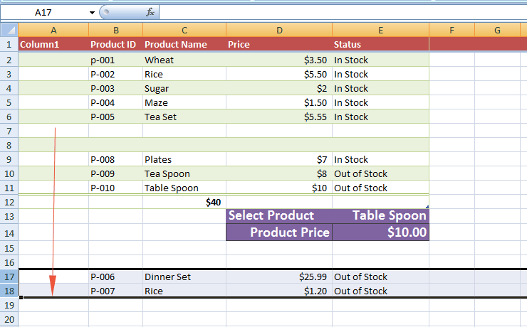 Excel-row-moved