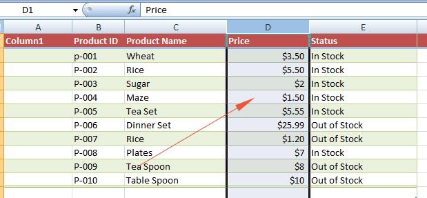Excel hide column select
