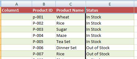 Excel hidden column
