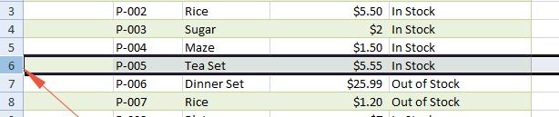 Excel hide row
