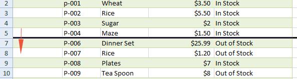 Excel hidden row