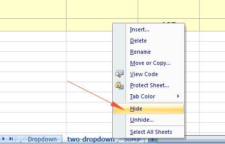 Excel hide sheet