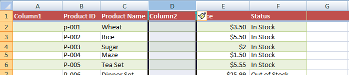 Excel column added