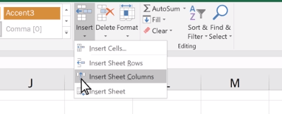 Excel add column ribbon