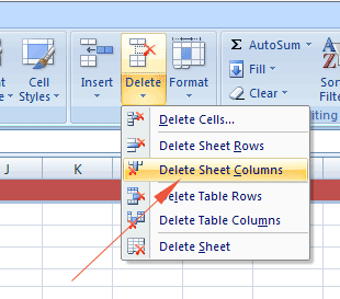 Excel remove col ribbon