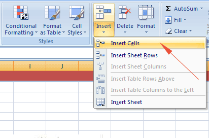 Excel insert cell ribbon
