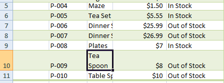 Excel wrapped text