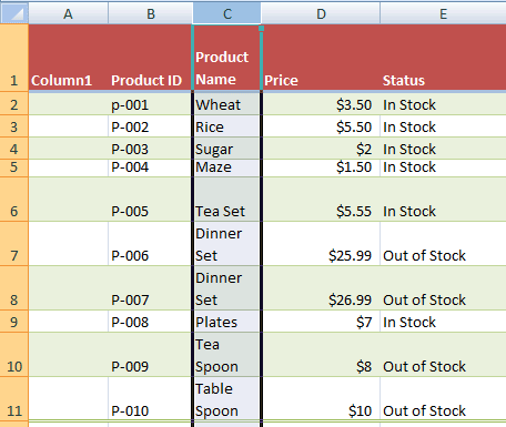 Excel wrapped column