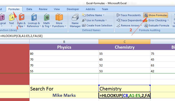 Excel show formula