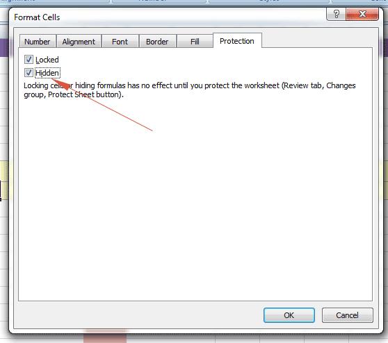 Excel hidden format