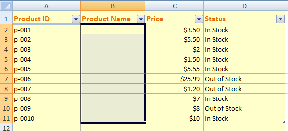 Excel dropdown list 1