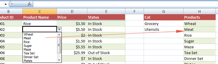 Excel item new added