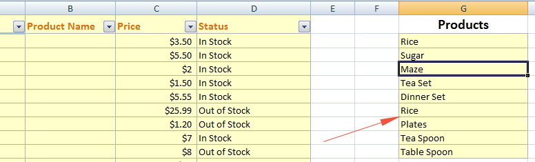Excel dropdown source