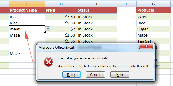 Excel data valid