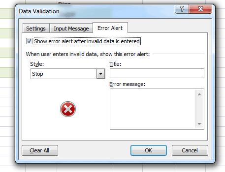 Excel error alert