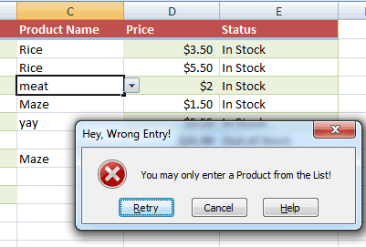 Excel custom message
