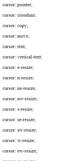 css cursors