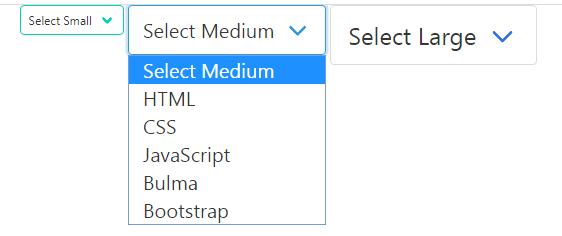 bulma select sizes
